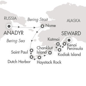 World CRUISE SHIP BIDS Le Soleal August 12-22 2023 Anadyr, Russia  to Anchorage (Seward), AK