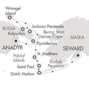SINGLE Cruise - Balconies-Suites CRUISE Le Soleal July 28 August 12 2019 Seward, AK, United States to Anadyr, Russia