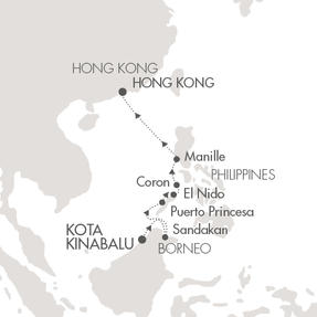 LUXURY CRUISE - Balconies-Suites Cruises Le Soleal March 15-25 2019 Kota Kinabalu, Malaysia to Hong Kong, Hong Kong