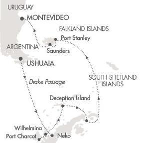 LUXURY CRUISE - Balconies-Suites Cruises Le Soleal February 21 March 8 2020 Ushuaia, Argentina to Montevideo, Uruguay