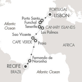 Single-Solo Balconies-Suites CRUISE Le Soleal March 17 April 2 2022 Recife, Brazil to Lisbon, Portugal