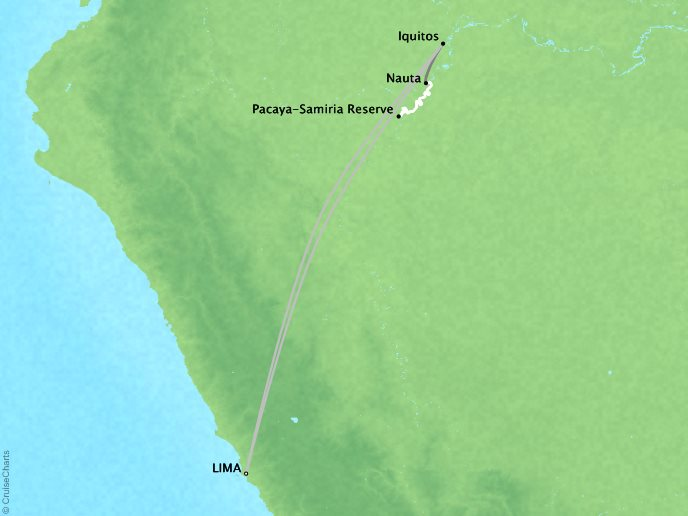 7 Seas Luxury Cruises Lindblad Expeditions Delfin 2 Map Detail Lima, Peru to Lima, Peru December 29 2022 January 7 2022 - 9 Days