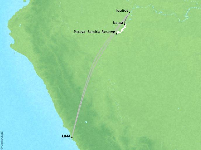 7 Seas Luxury Cruises Lindblad Expeditions Delfin 2 Map Detail Lima, Peru to Lima, Peru January 27 February 5 2022 - 9 Days