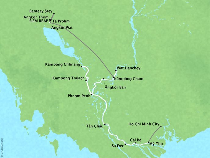Cruises Lindblad Expeditions Jahan Map Detail Siem Reap, Cambodia to Ho Chi Minh City (Saigon), Vietnam March 8-19 2018 - 11 Days