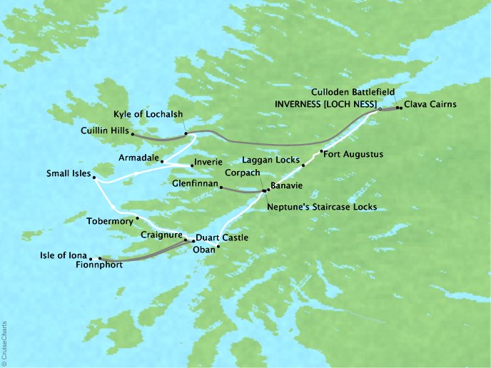Cruises Lindblad Expeditions Lord of the Glens Map Detail Inverness, United Kingdom to Inverness, United Kingdom August 14-21 2017 - 7 Days