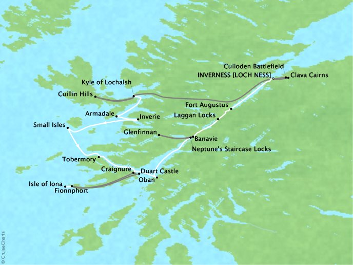 Cruises Lindblad Expeditions Lord of the Glens Map Detail Inverness, United Kingdom to Inverness, United Kingdom August 6-14 2017 - 8 Days