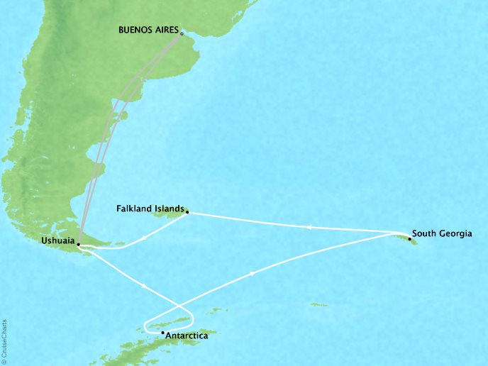 7 Seas Luxury Cruises Lindblad Expeditions National Geographic NG Explorer Map Detail Buenos Aires, Argentina to Buenos Aires, Argentina February 15 March 9 2022 - 24 Days