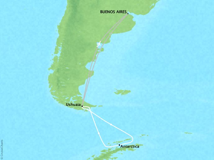 7 Seas Luxury Cruises Lindblad Expeditions National Geographic NG Explorer Map Detail Buenos Aires, Argentina to Buenos Aires, Argentina January 16-28 2022 - 12 Days