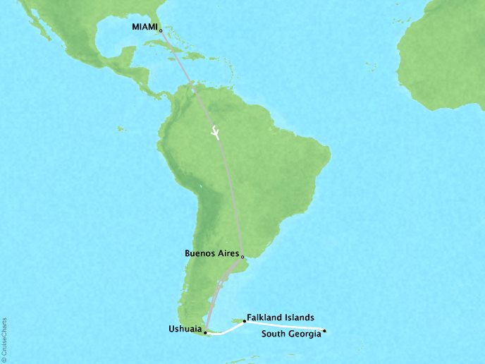 7 Seas Luxury Cruises Lindblad Expeditions National Geographic NG Explorer Map Detail Miami, FL, United States to Buenos Aires, Argentina March 6-23 2022 - 17 Days