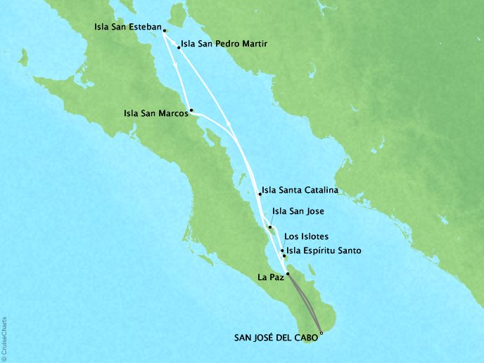 Cruises Lindblad Expeditions National Geographic NG Sea Bird Map Detail San Jose Del Cabo, Mexico to San Jose Del Cabo, Mexico April 8-15 2017 - 7 Days