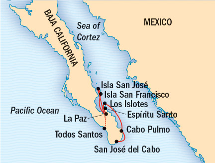 Cruises Lindblad Expeditions National Geographic Cruises NG Sea Bird Map Detail San Jose Del Cabo, Mexico to La Paz, Mexico January 7-14 2017 - 7 Days