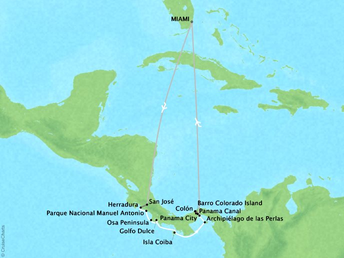 Cruises Lindblad Expeditions National Geographic NG Sea Lion Map Detail Miami, FL, United States to Miami, FL, United States January 27 February 3 2022 - 7 Days
