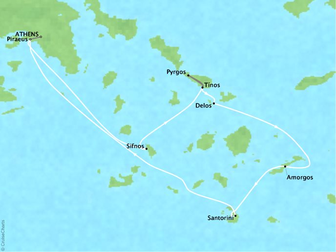 Cruises Lindblad Expeditions Sea Cloud Map Detail Athens, Greece to Piraeus, Greece June 18-25 2022 - 7 Days