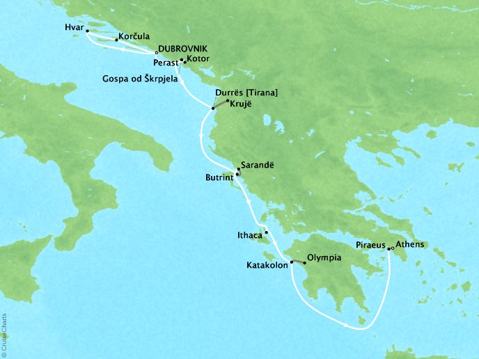 Cruises Lindblad Expeditions Sea Cloud Map Detail Dubrovnik, Croatia to Athens, Greece June 8-18 2022 - 10 Days