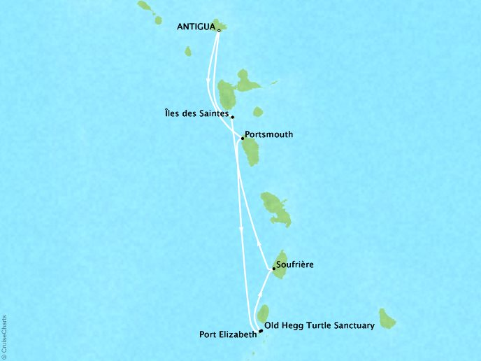 Cruises Lindblad Expeditions Sea Cloud Map Detail Antigua, Antigua And Barbuda to Antigua, Antigua And Barbuda March 15-22 2018 - 7 Days
