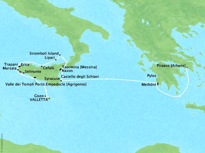 Cruises Lindblad Expeditions Sea Cloud Map Detail Valletta, Malta And Barbuda to Piraeus, Greece May 15-29 2022 - 14 Days