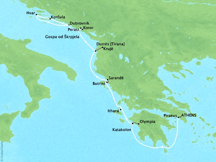 Cruises Lindblad Expeditions Sea Cloud Map Detail Athens, Greece to Dubrovnik, Croatia September 15-25 2022 - 10 Days