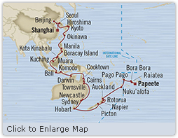 Singles Cruise - Balconies-Suites Oceania Insignia April 3 May 28 2019 Shanghai, China to Papeete, Tahiti, Society Islands