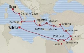 SINGLE Cruise - Balconies-Suites Oceania Insignia August 28 September 12 2019 Rome (Civitavecchia), Italy to Valletta, Malta