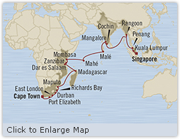 LUXURY CRUISE - Balconies-Suites Oceania Insignia February 9 March 15 2019 Cape Town, South Africa to Singapore, Singapore
