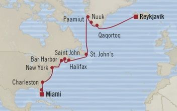 LUXURY CRUISE - Balconies-Suites Oceania Insignia July 1-19 2019 Miami, FL, United States to Reykjavík, Iceland