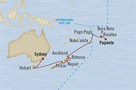 SINGLE Cruise - Balconies-Suites Oceania Insignia May 9-28 2019 Sydney, Australia to Papeete, Tahiti, Society Islands