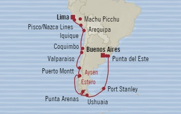 SINGLE Cruise - Balconies-Suites Oceania Insignia October 17 November 7 2019 Callao, Peru to Buenos Aires, Argentina