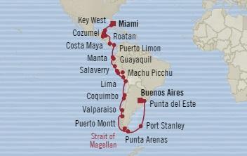 Singles Cruise - Balconies-Suites Oceania Insignia September 26 November 7 2019 Miami, FL, United States to Buenos Aires, Argentina