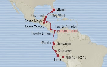 LUXURY CRUISE - Balconies-Suites Oceania Insignia September 26 October 17 2019 Miami, FL, United States to Callao, Peru