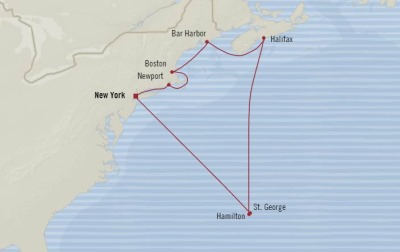 Cruises Oceania Insignia Map Detail New York, NY, United States to New York, NY, United States August 20-31 2017 - 11 Days
