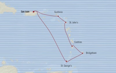 Cruises Oceania Insignia Map Detail San Juan, Puerto Rico to San Juan, Puerto Rico December 15-22 2017 - 7 Days