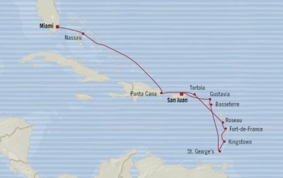 Cruises Oceania Insignia Map Detail San Juan, Puerto Rico to Miami, FL, United States December 22 2017 January 3 2018 - 12 Days