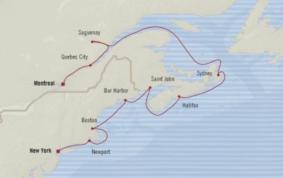 Cruises Oceania Insignia Map Detail New York, NY, United States to Montreal, Canada October 10-20 2017 - 10 Days