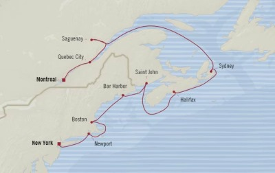 Cruises Oceania Insignia Map Detail Montreal, Canada to New York, NY, United States October 20-30 2017 - 10 Days