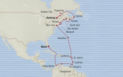 Cruises Oceania Insignia Map Detail Montreal, Canada to Miami, FL, United States October 20 November 14 2017 - 25 Days