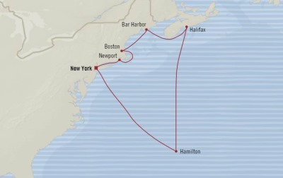 Cruises Oceania Insignia Map Detail New York, NY, United States to New York, NY, United States September 10-20 2017 - 10 Days
