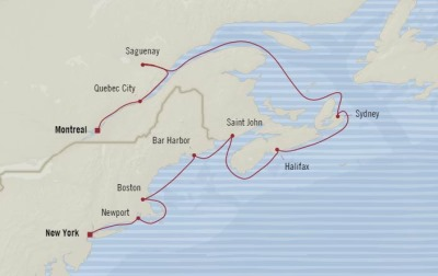 Cruises Oceania Insignia Map Detail New York, NY, United States to Montreal, Canada September 20-30 2017 - 10 Days