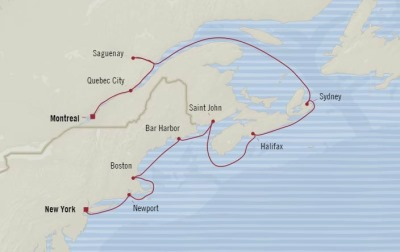 Cruises Oceania Insignia Map Detail Montreal, Canada to New York, NY, United States September 30 October 10 2017 - 10 Days