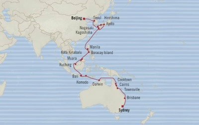 Cruises Oceania Insignia Map Detail Tianjin, China to Sydney, Australia April 4 May 9 2018 - 35 Days