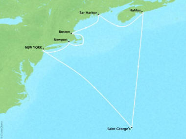 Cruises Oceania Insignia Map Detail New York, NY, United States to New York, NY, United States August 14-24 2018 - 10 Days