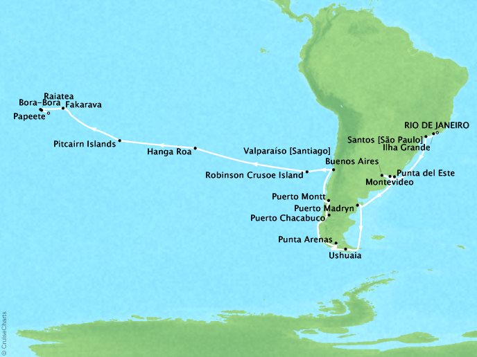 Cruises Oceania Marina Map Detail Rio De Janeiro, Brazil to Papeete, French Polynesia December 14 2018 January 21 2019 - 38 Days