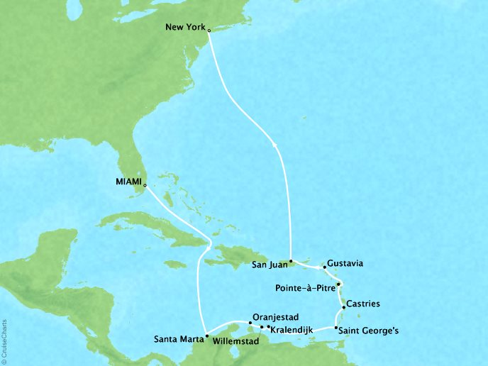Cruises Oceania Insignia Map Detail Miami, FL, United States to New York, NY, United States December 27 2018 January 11 2019 - 15 Days