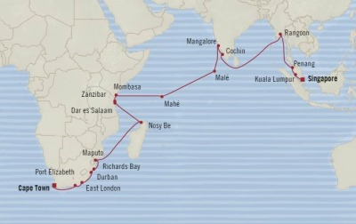 Cruises Oceania Insignia Map Detail Cape Town, South Africa to Singapore, Singapore February 8 March 15 2018 - 36 Days