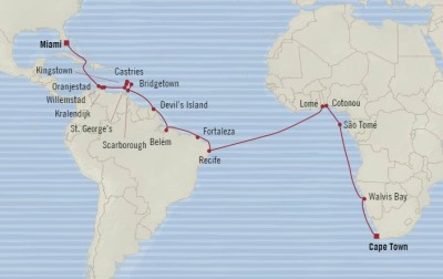 Cruises Oceania Insignia Map Detail Miami, FL, United States to Cape Town, South Africa January 3 February 8 2018 - 36 Days