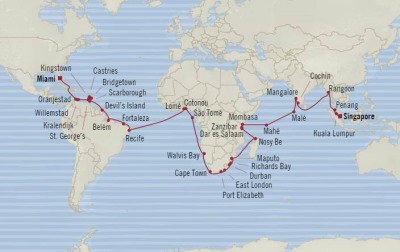 Cruises Oceania Insignia Map Detail Miami, FL, United States to Singapore, Singapore January 3 March 15 2018 - 71 Days