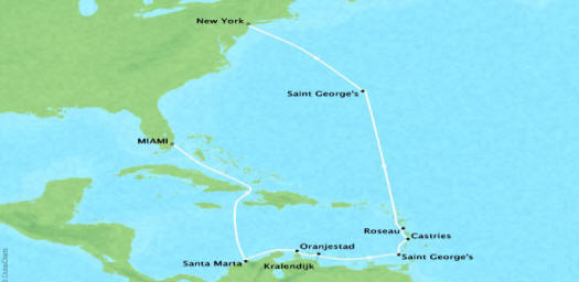 Cruises Oceania Insignia Map Detail Miami, FL, United States to New York, NY, United States July 1-15 2018 - 14 Days