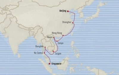 Cruises Oceania Insignia Map Detail Singapore, Singapore to Tianjin, China March 15 April 4 2018 - 20 Days