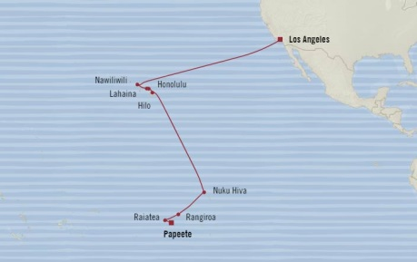 Cruises Oceania Insignia Map Detail Papeete, French Polynesia to Los Angeles, CA United States May 28 June 15 2018 - 18 Days