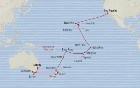 Cruises Oceania Insignia Map Detail Sydney, Australia to Los Angeles, CA United States May 9 June 15 2018 - 37 Days