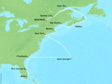 Cruises Oceania Insignia Map Detail Montreal, Canada to Miami, FL, United States November 2-18 2018 - 16 Days